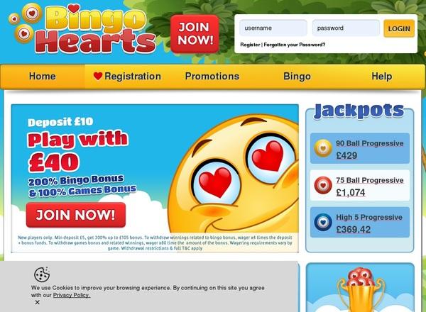Bingo Hearts サインアップ