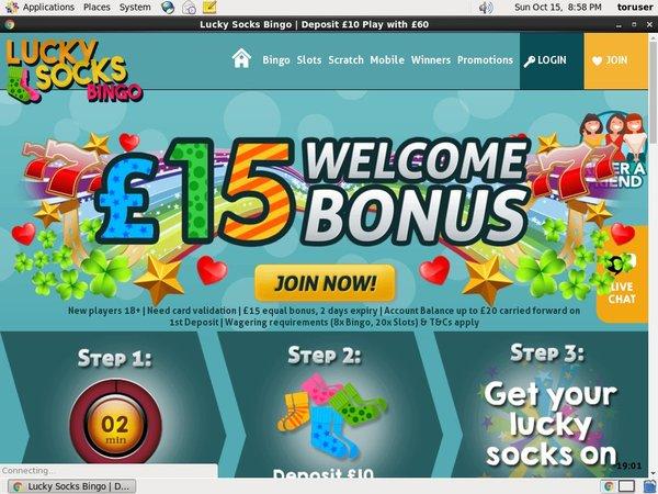 Lucky Socks Bingo Bank Transfer