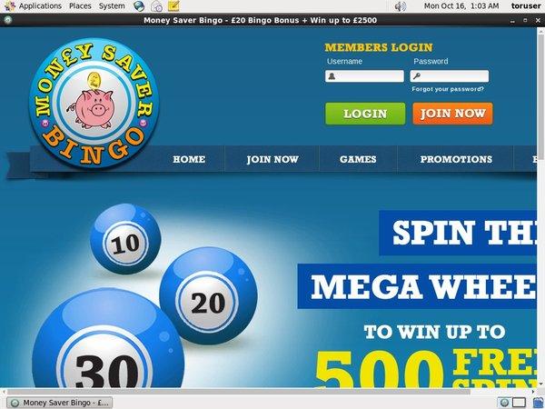 Money Saver Bingo Joining Promo Code