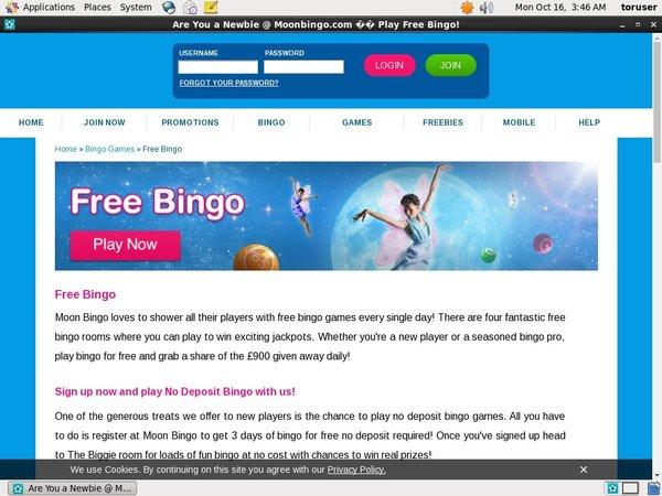 Moon Bingo Desktop Site Login